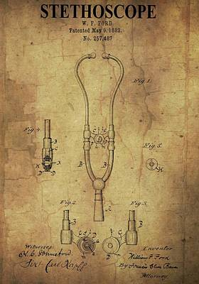 Aged Stethoscope Patent Poster by Dan Sproul
