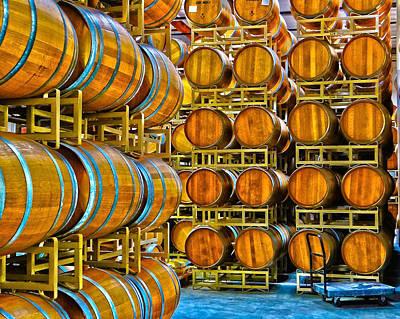 Aging Wine Barrels Poster
