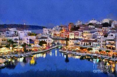 Painting Of Agios Nikolaos City Poster