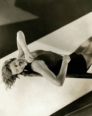 Agnes Geraghty Lying Down On A Diving Board Poster by Edward Steichen