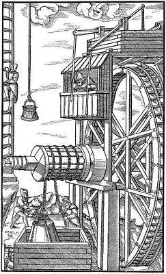 Agricola Water Pump, 1556 Poster