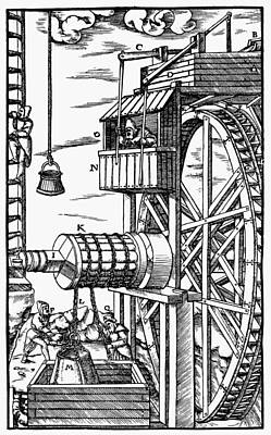 Agricola Waterwheel, 1556 Poster
