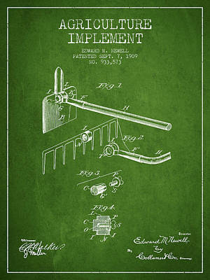 Agriculture Implement Patent From 1909 - Green Poster by Aged Pixel