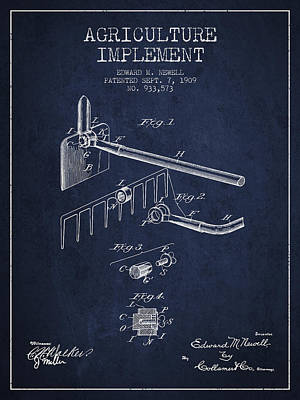 Agriculture Implement Patent From 1909 - Navy Blue Poster by Aged Pixel