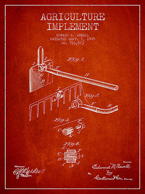 Agriculture Implement Patent From 1909 - Red Poster by Aged Pixel