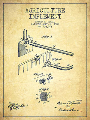 Agriculture Implement Patent From 1909 - Vintage Poster