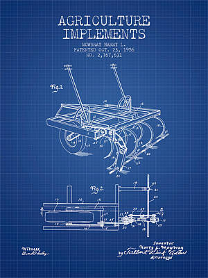 Agriculture Implements Patent From 1956 - Blueprint Poster by Aged Pixel