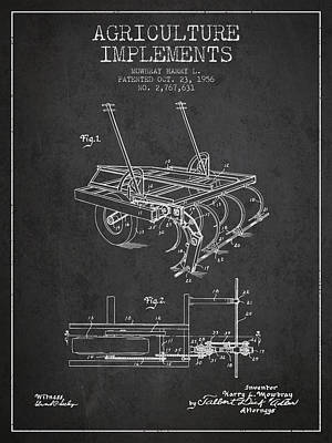 Agriculture Implements Patent From 1956 - Dark Poster by Aged Pixel