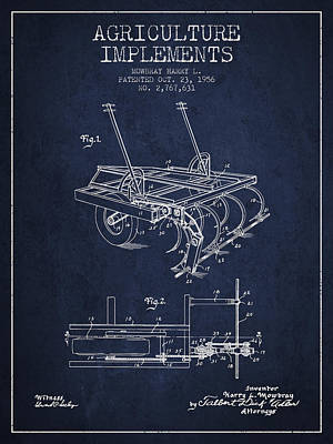 Agriculture Implements Patent From 1956 - Navy Blue Poster by Aged Pixel