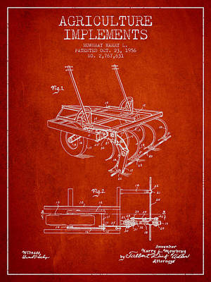 Agriculture Implements Patent From 1956 - Red Poster by Aged Pixel