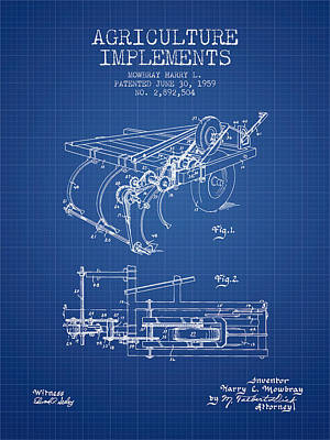 Agriculture Implements Patent From 1959 - Blueprint Poster by Aged Pixel