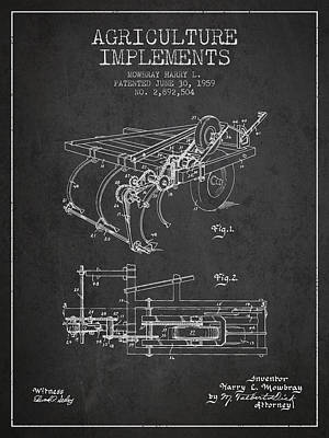 Agriculture Implements Patent From 1959 - Dark Poster by Aged Pixel