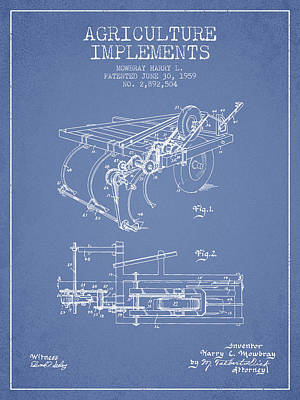 Agriculture Implements Patent From 1959 - Light Blue Poster by Aged Pixel