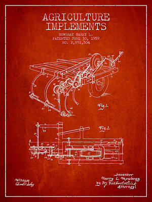 Agriculture Implements Patent From 1959 - Red Poster by Aged Pixel