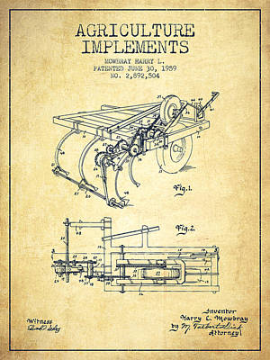 Agriculture Implements Patent From 1959 - Vintage Poster
