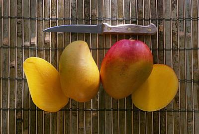 Agriculture - Sliced Sunrise Mango Poster by Daniel Hurst