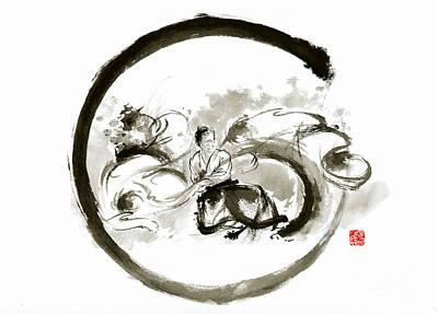 Aikido Enso Circle Martial Arts Sumi-e Original Ink Painting Artwork Poster by Mariusz Szmerdt