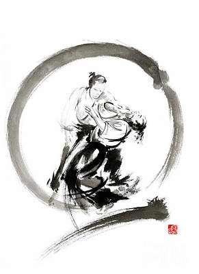 Aikido Enso Circle Martial Arts Sumi-e Samurai Ink Painting Artwork Poster by Mariusz Szmerdt