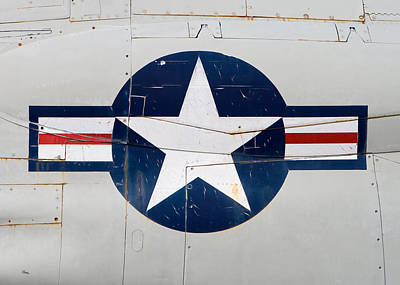 Air Force Logo On Vintage War Plane Poster by Stephanie McDowell