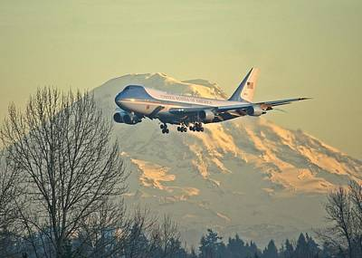 Air Force One And Mt Rainier Poster