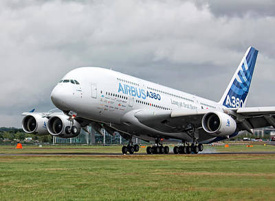 Airbus A380 Landing Poster by Shirley Mitchell