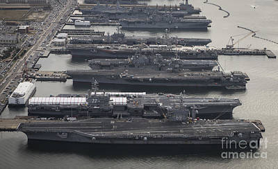 Aircraft Carriers In Port At Naval Poster by Stocktrek Images