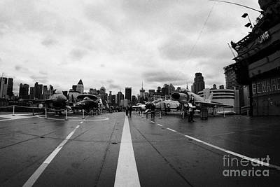Aircraft On The Flight Deck Of The Uss Intrepid And Flight Island Looking Towards Manhattan Poster by Joe Fox