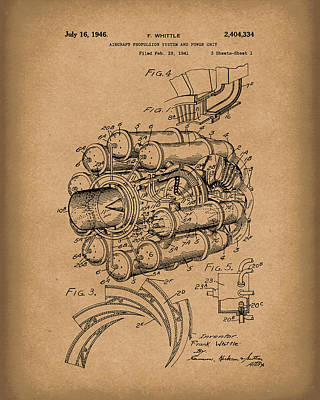 Aircraft Propulsion 1946 Patent Art Brown Poster by Prior Art Design