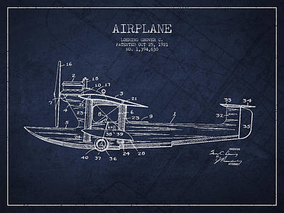 Airplane Patent Drawing From 1921 Poster by Aged Pixel