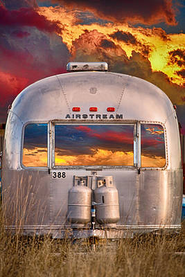 Airstream Travel Trailer Camping Sunset Window View Poster