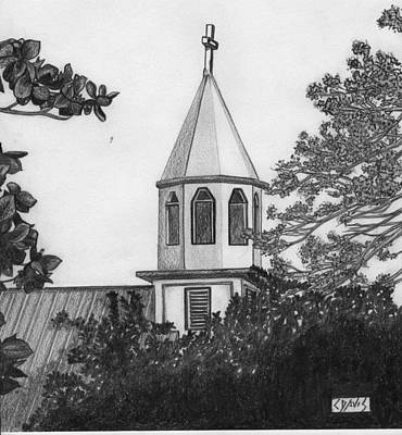 Poster featuring the drawing Ajeltake Steeple by Lew Davis