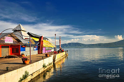 Poster featuring the photograph Ajijic Pier - Lake Chapala - Mexico by David Perry Lawrence