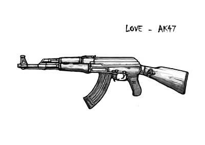 Ak - 47 Gun Drawin Art Poster Poster by Kim Wang