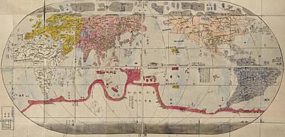 Akitaya Naniwa S World Map 1785 Poster by MotionAge Designs