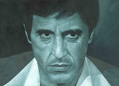 Poster featuring the painting Al Pacino 'scarface'  by David Dunne