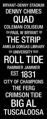 Alabama College Town Wall Art Poster