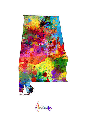 Alabama Map Poster by Michael Tompsett