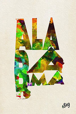 Alabama Typographic Watercolor Map Poster by Ayse Deniz