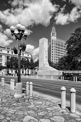 Alamo Memorial And Emily Morgan Hotel - San Antonio Texas Poster by Silvio Ligutti