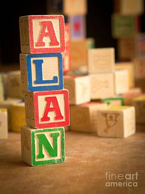 Alan - Alphabet Blocks Poster by Edward Fielding