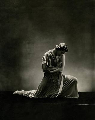 Alanova Kneeling In A Dress Poster by George Hoyningen-Huene