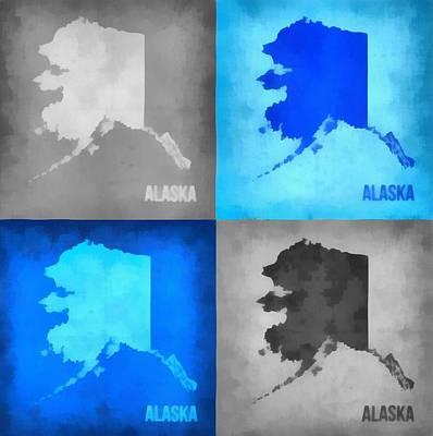 Alaska Map Art Poster by Dan Sproul