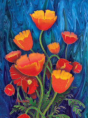 Poster featuring the mixed media Alaska Poppies by Teresa Ascone