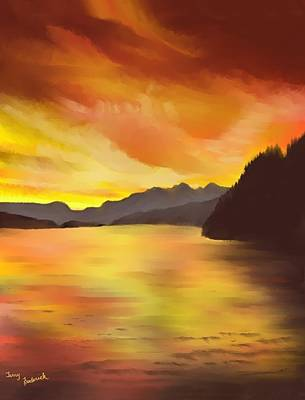 Poster featuring the painting Alaska Sunset by Terry Frederick