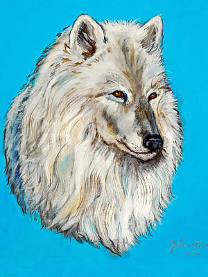 Poster featuring the painting Alaska White Wolf by Bob and Nadine Johnston