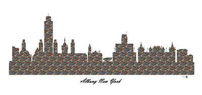 Albany New York 3d Stone Wall Skyline Poster