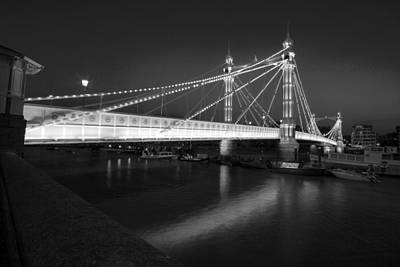 Albert Bridge At Night  Poster by David French