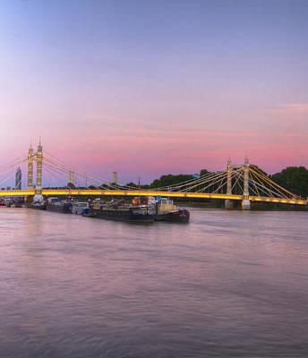 Albert Bridge London Thames At Night Dusk Poster by David French