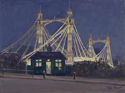 Albert Bridge - Night Oil On Canvas Poster by Julian Barrow