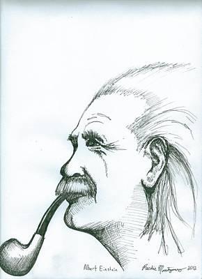 Poster featuring the painting Albert Einstein by Richie Montgomery